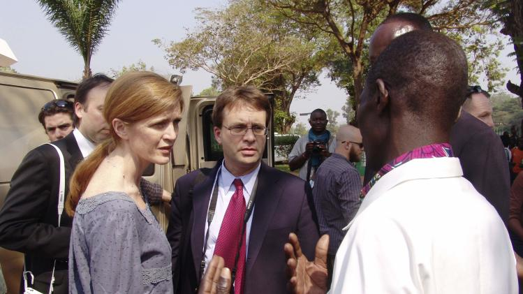 Power talks with the director of the community hospital in Bangui
