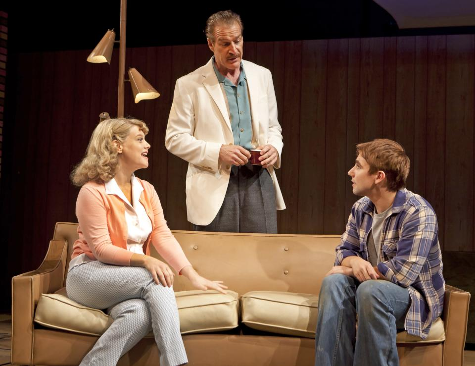 "In this theater publicity photo provided by David Gersten & Associates, from left, Kellie Overbey, Kevin Kilner and Keith Nobbs are shown in a scene from the Keen Company's revival of Lanford Wilson's ""Lemon Sky,"" performing off-Broadway at Theatre Row in New York.  (AP Photo/David Gersten & Associates, Richard Termine)"