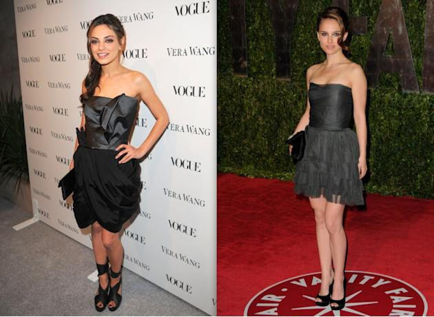 Mila and Natalie in black strapless mini dresses
