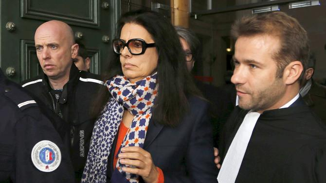 Francoise Bettencourt-Meyers, the daughter of L'Oreal heiress Liliane Bettencourt, leaves the courts in Bordeaux on the opening day of the Bettencourt trial