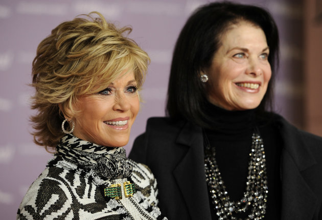 Jane Fonda, left, recipient of the 2011 Sherry Lansing Leadership Award, poses with Lansing at The Hollywood Reporter&#39;s 20th annual Women in Entertainment Breakfast in Beverly Hills, Calif., Wednesday, Dec. 7, 2011. The event celebrated the 100 most powerful women in the entertainment industry. (AP Photo/Chris Pizzello)
