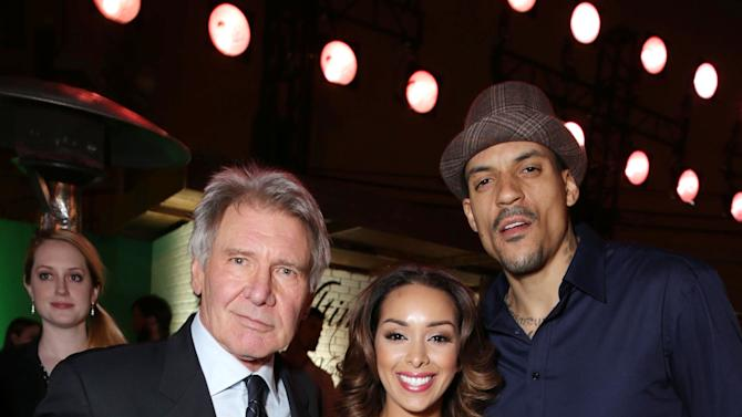Harrison Ford, Matt Barnes and Gloria Govan at The Los Angeles Premiere of Warner Bros. Pictures' and Legendary Pictures' 42, on Tuesday, April, 9th, 2013 in Los Angeles. (Photo by Eric Charbonneau/Invision for Warner Bros./AP Images)
