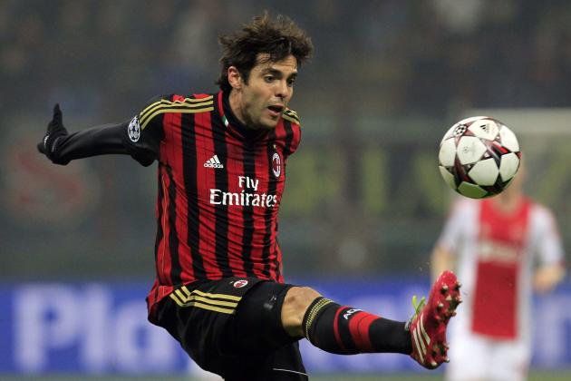 AC Milan's Kaka controls the ball during their Champions League group H soccer match against Ajax Amsterdam in Milan