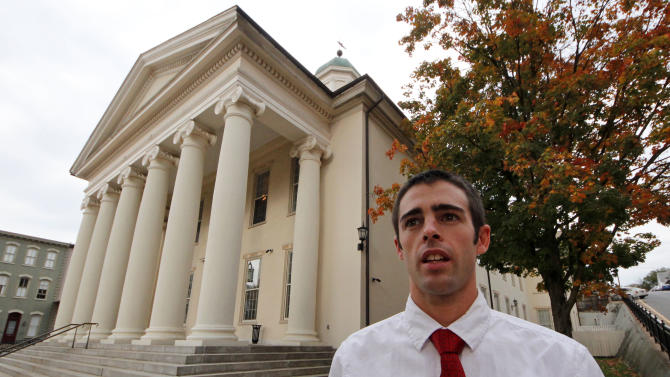 "Joshua Harper, of State College, Pa.,  a member of the Jerry Sandusky jury, stands in front of the Centre County Courthouse in Bellefonte, Pa., on Friday, Oct. 5, 2012.  Harper, who has bachelor's and master's degrees from Penn State, said that he takes pride in having served on the jury, and that the guilty verdict was not a close call. He wants Sandusky ""put away for the rest of his life, really.""(AP Photo/Gene J. Puskar)"