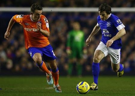 Everton's Leighton Baines (R) runs past Oldham Athletic's Kirk Millar during their FA Cup fifth round replay soccer match at Goodison Park in Liverpool, northern England, February 26, 2013. REUTERS/Da