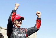 Ryan Briscoe celebrates after winning the GoPro Indy Grand Prix of Sonoma at Sonoma on August 26, 2012 in Sonoma, California. Briscoe took advantage of a late caution flag to beat pole sitter Power who led the race for 57 laps. It marked Briscoe's first victory since he won in Texas in June 2010