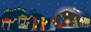The Three Kings worship Baby Jesus