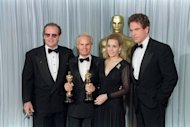 "Producers Richard Zanuck (2nd L) and his wife Lili Zanuck (2nd R) flanked by US actors Jack Nicholson (L) and Warren Beatty (R), after they received an Oscar for best picture for the film ""Driving Miss Daisy"" at the 62nd Annual Academy Awards in Hollywood in 1990. Richard Zanuck, famous for films including ""Jaws,"" ""Driving Miss Daisy"" and a string of Tim Burton films, died aged 77, media reported"