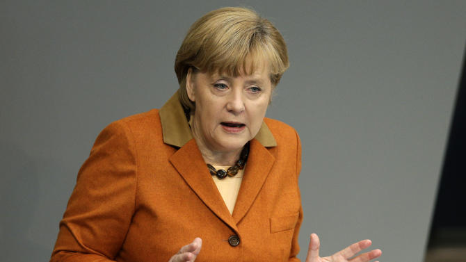German Chancellor Angela Merkel speaks during a meeting of the German Federal Parliament, Bundestag, in Berlin, Germany, Thursday, Oct. 18, 2012. (AP Photo/Michael Sohn)
