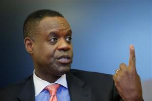 Detroit's emergency manager Kevyn Orr gestures as he speaks during an interview with Thomson Reuters in New York