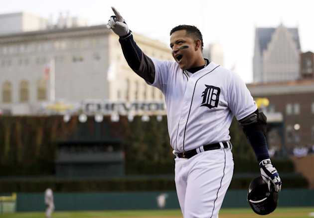 Oct. 18, 2012, file photo, Detroit Tigers' Miguel Cabrera celebrates after hitting a two-run home run during the fourth inning of Game 4 of the American League championship series against the New