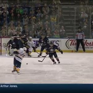 Smith sneaks slap shot under Enroth's pads