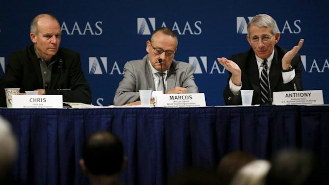 Fauci answers a question during a news conference in Washington