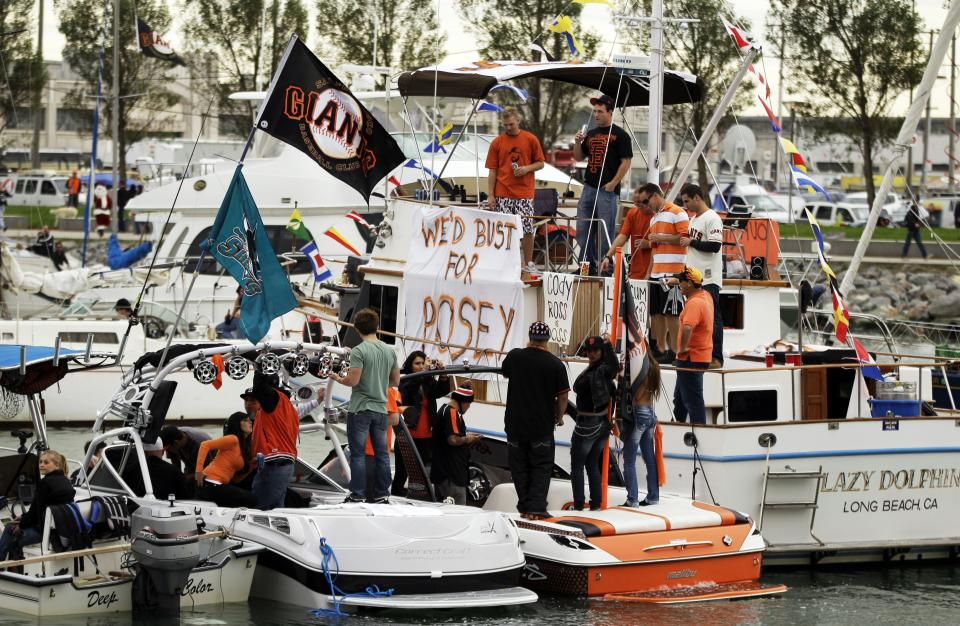 Boats fill McCovey Cove outside AT&T Park before Game 1 of baseball's World Series between the San Francisco Giants and the Texas Rangers Wednesday, Oct. 27, 2010, in San Francisco. (AP Photo/Eric Risberg)