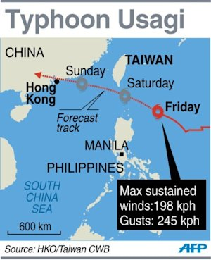 Graphic showing the forecast track of Typhoon Usagi…