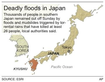 Map shows Kyushu region, where rains have caused flooding and at least 26 deaths.
