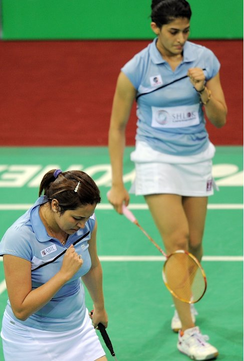 Indian Badminton players Jwala Gutta (L)