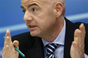 UEFA General Secretary Infantino attends a news conference after the first UEFA Executive Committee reunion of the year at the UEFA headquarters in Nyon