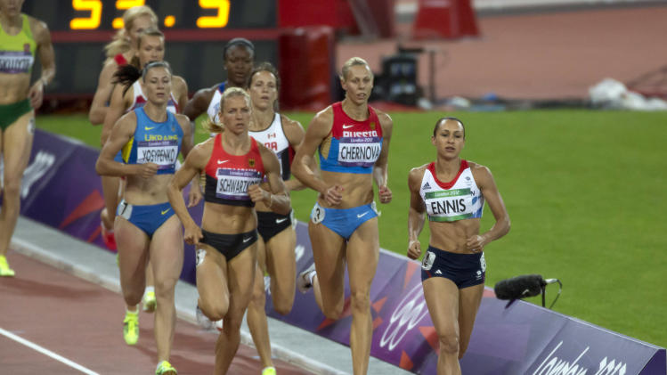Britain's Jessica Ennis runs towards a gold medal finish in the women's heptathlon event during the London 2012 Olympic Games