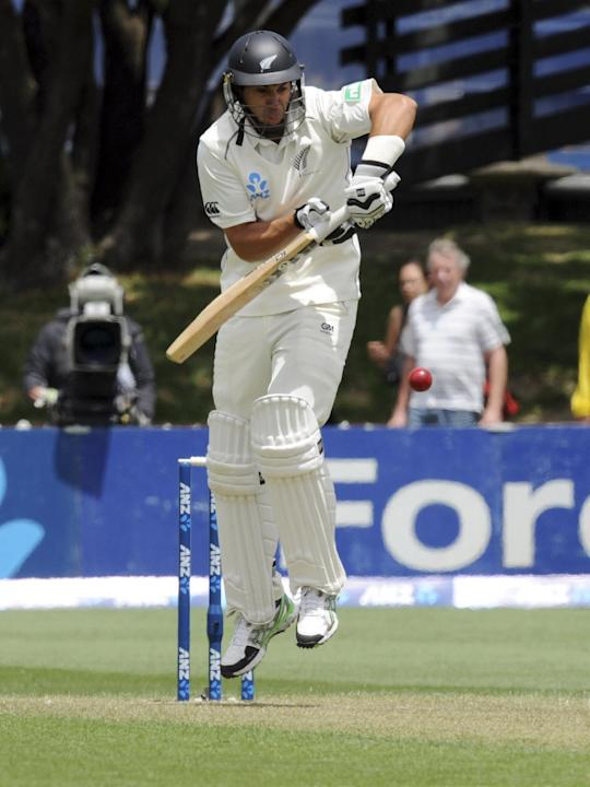 New Zealand's Ross Taylor bats against West Indies during the first day of the second International cricket match at Basin Reserve in Wellington, New Zealand, Wednesday, Dec. 11, 2013