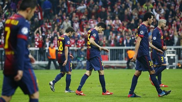 Dejected Barcelona players after losing 4-0 to Bayern Munich in the Champions League (Reuters)