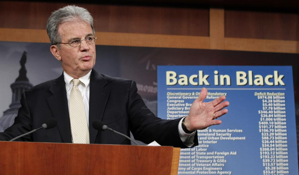 "Sen. Tom Coburn, R-Okla., reveals his ""Back in Black"" plan to reduce the federal deficit, Monday, July 18, 2011, during a news conference on Capitol Hill in Washington. (AP Photo/J. Scott Applewhite)"