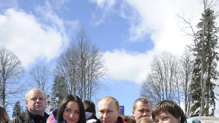 Russian President Vladimir Putin visits the Laura Cross-country Ski and Biathlon Center at the 2014 Sochi Winter Paralympic Games