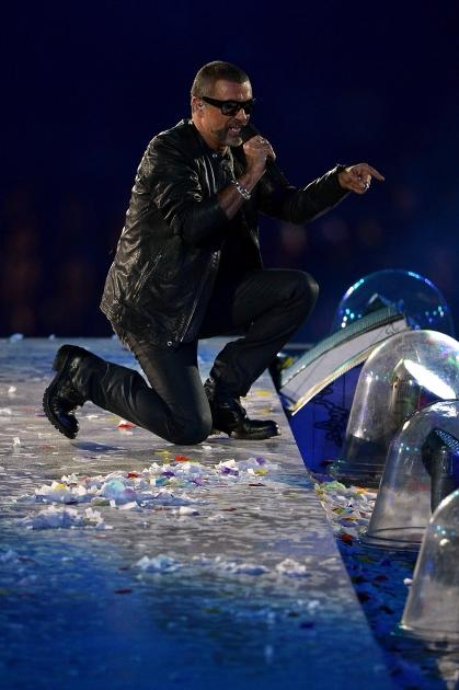 George Michael performs during the Closing Ceremony on Day 16 of the London 2012 Olympic Games at Olympic Stadium, London, on August 12, 2012 -- Getty Images