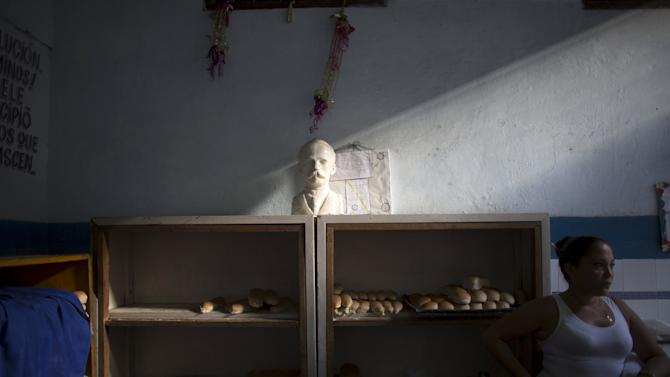 An image of Cuban independence hero Jose Marti is displayed in a state-run bakery in downtown Havana