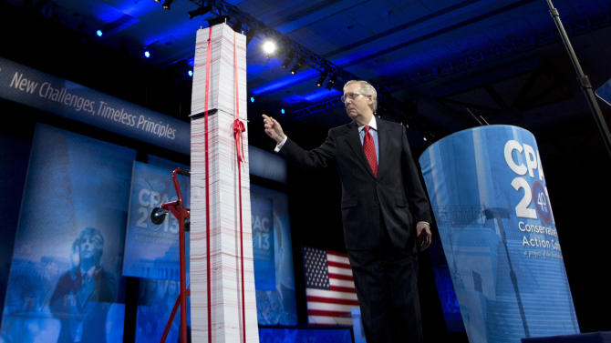 FILE - In this March 15, 2013, file photo the Senate Minority Leader, Republican Mitch McConnell of Kentucky, points to a 7-foot stack of Affordable Health Care Act regulations during an event in National Harbor, Md. The health care law has been a political prop for two election seasons already, but next year will be different. if the rollout of the law works reasonably well, particularly in states that have embraced it, there is an risk for Republicans, who have touted it as such a disaster, that enraged voters will reward the GOP with undisputed control of Congress in next year's elections. (AP Photo/Manuel Balce Ceneta, File)