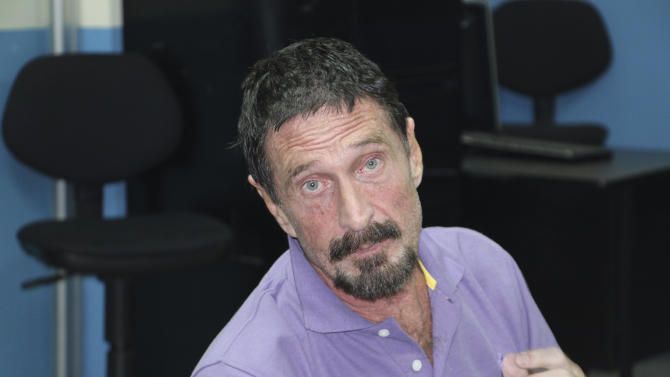 In this image released by Guatemala's National Police on Wednesday Dec. 5, 2012, software company founder John McAfee is pictured after being arrested for entering the country illegally Wednesday Dec. 5, 2012 in Guatemala City. The anti-virus guru was detained at a hotel in an upscale Guatemala City neighborhood with the help of Interpol agents hours after he said he would seek asylum in the Central American country. (AP Photo/Guatemala's National Police)