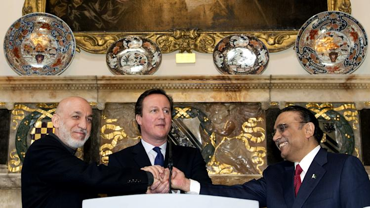 Prime Minister David Cameron Holds Trilateral Summit With Afghanistan's President Karzai And Pakistan's President Zardari