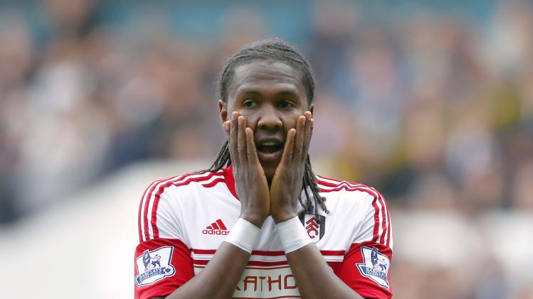 Fulham's Rodallega reacts after missed opportunity during their English Premier League soccer match against Tottenham Hotspur at White Hart Lane in London