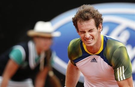 Murray of Britain reacts during the men's singles match against Granollers of Spain at the Rome Masters tennis tournament