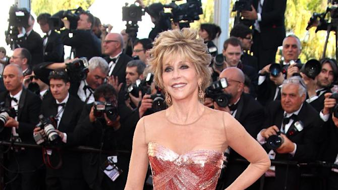 "FILE - This May 16, 2012 file photo shows actress Jane Fonda arriving for the opening ceremony and screening of ""Moonrise Kingdom"" at the 65th international film festival, in Cannes, southern France.  Fonda stars in the new film, ""Peace, Love & Misunderstanding"" that debuts in limited release and on Video On Demand on Friday, June 8.  (AP Photo/Joel Ryan, file)"