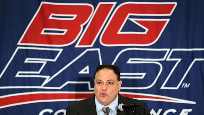FILE - In this Aug. 2, 2011, file photo, Big East Commissioner John Marinatto speaks to reporters during Big East football media day in Newport, R.I. Marinatto resigned Monday, May 7, 2012, after less than three years on the job and a wave of departures by high-profile schools. (AP Photo/Stew Milne, File)