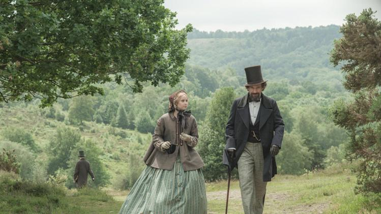 "This image released by Sony Pictures Classics shows Felicity Jones, left, as Nelly Ternan, and Ralph Fiennes as Charles Dickens, in a scene from ""The Invisible Woman."" (AP Photo/Sony Pictures Classics, David Appleby)"