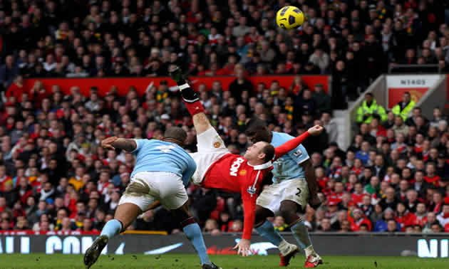 Rooney's overhead stunner against Man City is surely a contender for goal of the season. (Getty photo)