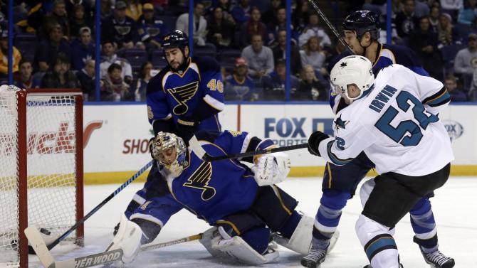 Sharks beat Blues 4-2 to sweep season series