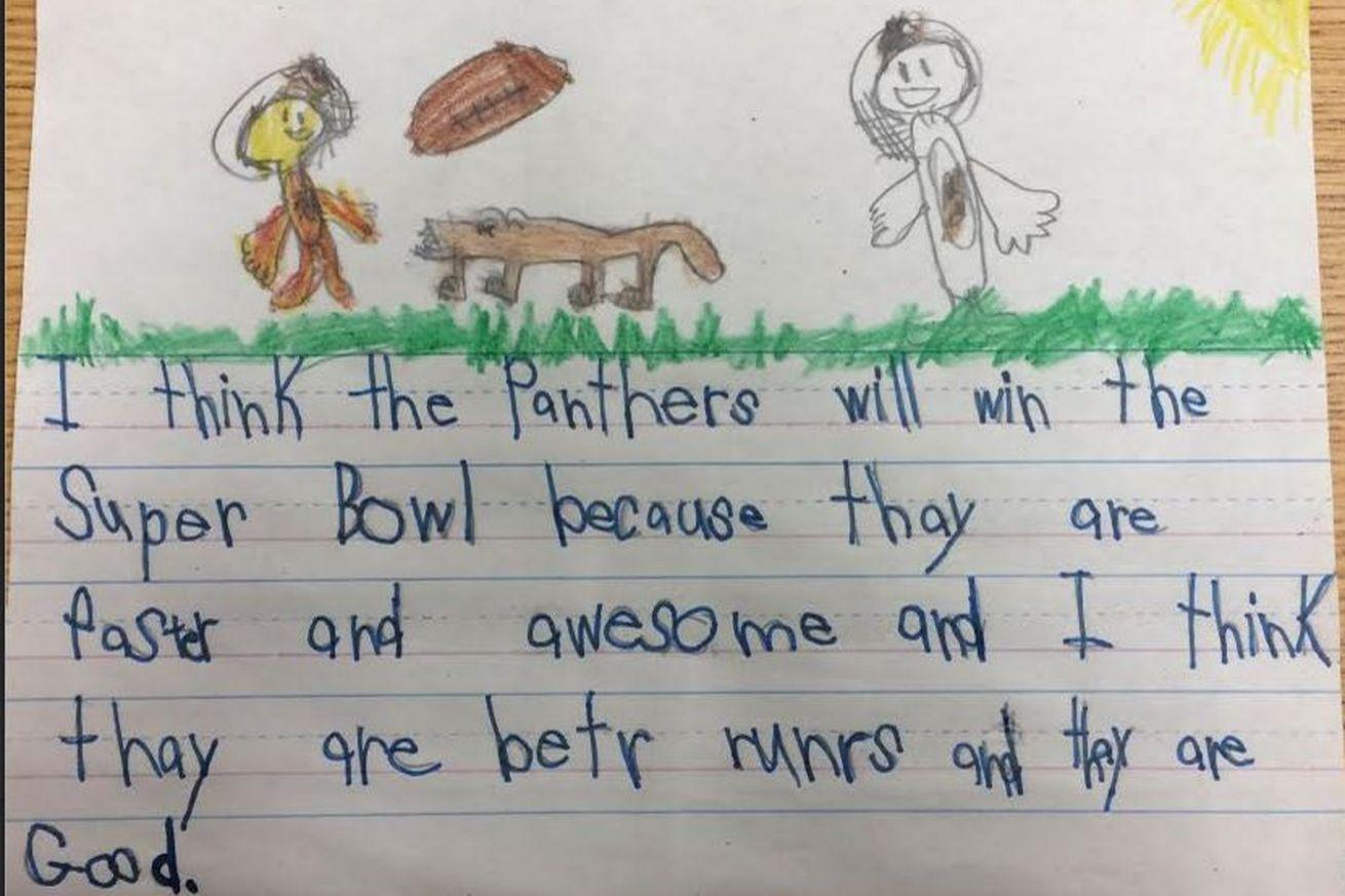 Super Bowl sports takes from 1st graders