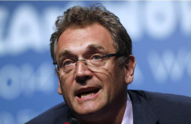 Jerome Valcke speaks during an announcement on the status of Curitiba as a host city for the 2014 World Cup, in Florianopolis