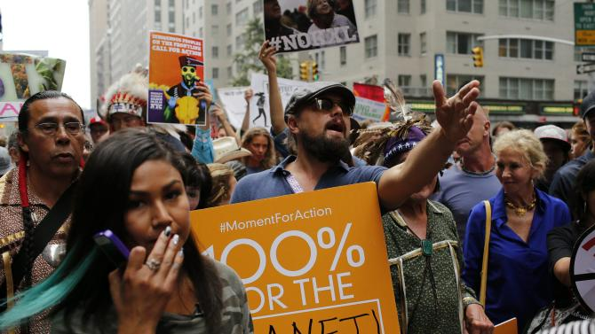 Leonardo DiCaprio takes part in a march against climate change in New York