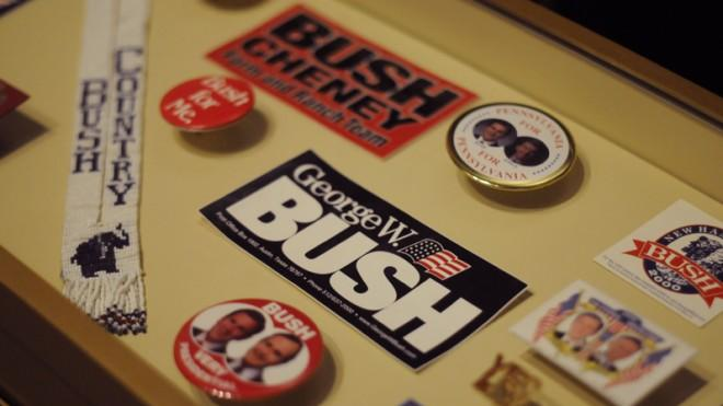 Campaign memorabilia on display at the George W. Bush Presidential Library and Museum.