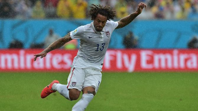 US midfielder Jermaine Jones plays the ball during the match against Germany at the Pernambuco Arena in Recife during the FIFA World Cup on June 26, 2014