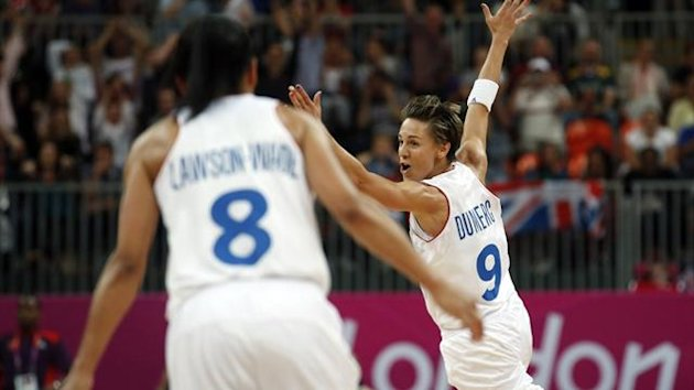 France's Celine Dumerc (R) celebrates her game winning shot against Great Britain (Reuters)