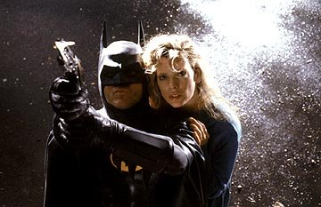 Michael Keaton as Batman and Kim Basinger as Vicki Vale in Warner Brothers' Batman