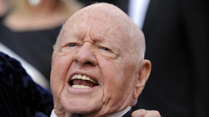 This March 7, 2010 file photo shows Mickey Rooney at the 82nd Academy Awards in the Hollywood section of Los Angeles. Rooney's final will filed in Los Angeles Superior Court on Tuesday, April 8, 2014, calls for his stepson and caretaker Mark Rooney to receive the bulk of the actor's modest estate. Attorney Michael Augustine, who Rooney nominated to run his estate, said Tuesday that the actor died after a nap Sunday, April 6, 2014, and wanted his stepson to be the sole beneficiary of his estate because of the care he had received in recent years. (AP Photo/Chris Pizzello, file)