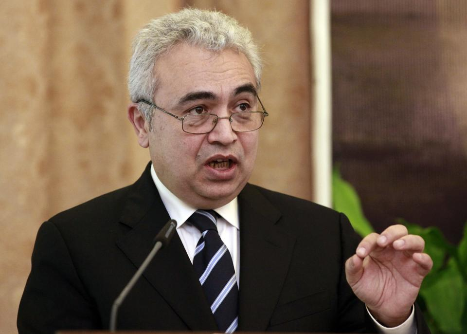 Chief Economist of the IEA Fatih Birol speaks to the press in Baghdad, Iraq, Wednesday, Oct. 10, 2012. Iraq's top energy official is predicting that the country's current oil production of 3.4 million barrels per day will double by 2015. (AP Photo/Hadi Mizban)