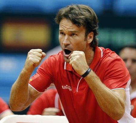 Spain's team captain Moya reacts during the Davis Cup play-offs tennis match between Bellucci of Brazil and Bautista of Spain in Sao Paulo