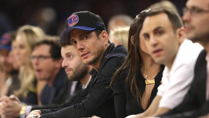 Actor Will Arnett sits courtside in the second half of Game 5 of an Eastern Conference semifinal in the NBA basketball playoffs between the New York Knicks and the Indiana Pacers at Madison Square Garden in New York, Thursday, May 16, 2013. (AP Photo/Julio Cortez)